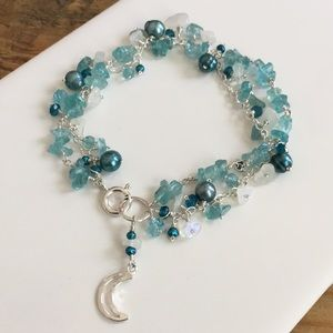Blue moon bracelet multi strand sterling silver